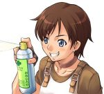 1girl blue_eyes brown_hair collar earrings fingerless_gloves first_aid gloves help jewelry lowres mischievous rebecca_chambers resident_evil short_hair smile solo spray takurou takurou_(mix_fry)