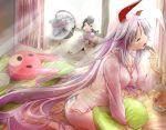 1girl animal_ears cellphone character_doll doll female inaba_tewi pajamas panties phone purple_hair rabbit_ears reisen_udongein_inaba scarlet_(studioscr) solo striped striped_panties touhou underwear yagokoro yawning