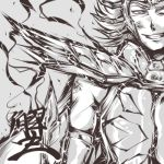 1boy :d armlet armor cancer_deathmask cancer_manigoldo grin hairu kanji looking_at_viewer lowres male_focus monochrome muscle open_mouth saint_seiya shoulder_pads simple_background smile solo teeth white_background