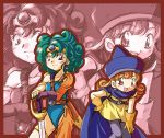 2girls :d alena_(dq4) asymmetrical_clothes belt bent_over blue_eyes blush cape chunsoft circlet curly_hair dragon_quest dragon_quest_iv dress earrings enix flat_chest gem gloves green_hair hand_on_hip hat heroine_(dq4) jewelry leotard long_hair lowres multiple_girls open_mouth orange_hair pantyhose red_eyes redhead short_dress short_hair skirt smile standing sword thigh_strap weapon yellow_skirt zoom_layer