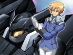 1boy armor blonde_hair blue_eyes caryo closed_mouth gloves graham_aker gundam gundam_00 long_sleeves machinery male_focus military military_uniform smirk solo standing tabigarasu uniform union_flag white_gloves