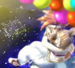1boy 1girl 90s aerial_fireworks balloon chrono_(series) chrono_trigger crono fireworks holding hug lowres marle ponytail sandals spiky_hair
