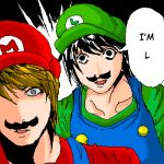 2boys bags_under_eyes cosplay crossover death_note facial_hair hat i_am_l l_(death_note) lowres luigi luigi_(cosplay) male_focus mario mario_(cosplay) mario_(series) multiple_boys mustache nintendo parody super_mario_bros. uniform what yagami_light