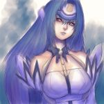 1girl bare_shoulders blue_hair breasts fumio_(rsqkr) gradient gradient_background kos-mos long_hair red_eyes solo very_long_hair xenosaga xenosaga_episode_i