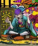 1boy bandanna blonde_hair blue_eyes byakuroku do-rag facepaint facial_mark geta hair_tie indian_style japanese_clothes jewelry kimono kusuriuri_(mononoke) lipstick long_hair makeup male_focus medallion mononoke nail_polish necklace obi pale_skin pointy_ears sash sitting solo sun_(symbol) tabi turtle umbrella