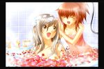 2girls aoi_nagisa bangs bath bathing bathtub blush breasts closed_eyes collarbone game_cg hair_down hanazono_shizuma happy long_hair medium_breasts multiple_girls naked_towel nude open_mouth petals ponytail redhead shampoo silver_hair small_breasts smile soap_bubbles strawberry_panic! towel washing_hair wet wet_hair