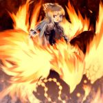 1girl :d bird creature female fire flame fujiwara_no_mokou long_sleeves looking_at_viewer open_mouth phoenix red_eyes shadow shoulder_pads silver_hair smile solo standing touhou upper_body