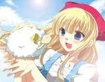 animal blonde_hair blue_eyes clara clara_(pop'n_music) clouds futaba_841 pop'n_music sheep smile sun