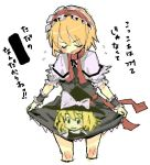1girl :d alice_margatroid black_dress blonde_hair buriki capelet closed_eyes dress female frills kirisame_marisa maid_headdress oekaki open_mouth puffy_short_sleeves puffy_sleeves short_hair short_sleeves simple_background smile solo touhou white_background