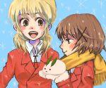 2girls hidamari_sketch lowres miyako multiple_girls oekaki scarf snow_bunny yuno