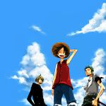 3boys background bandanna black_hair black_shirt blonde_hair blue_sky cigarette closed_eyes clouds crew denim denim_shorts formal from_below green_hair happy haramaki hat male_focus monkey_d_luffy multiple_boys no_eyes one_piece pirate red_vest roronoa_zoro sanji scar shirt shorts sky smile smoking standing straw_hat suit sword t-shirt trio vest weapon worm's-eye_view