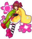 1girl flower geta japanese_clothes kanako_(pop'n_music) kanoko_(pop'n_music) kimono lowres microphone microphone_stand pop'n_music solo tengu-geta thigh-highs zettai_ryouiki