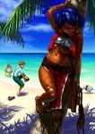 1boy 2girls 90s bandeau bandeau_bikini barefoot beach bracelet cross-laced_footwear dark_skin earrings feet fushigi_no_umi_no_nadia green_eyes hair_ornament hairclip highres holding holding_shoes jean_coq_de_raltigue jean_roque_raltique jewelry jon_taira king king_(nadia) lion loincloth marie marie_en_carlsberg midriff multiple_girls nadia navel neck_ring necklace palm_tree purple_hair sandals shoes short_hair strapless tree tree_shade tubetop vest
