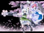 2girls arm_up barefoot bloomers blue_eyes boots bow copyright_name dress dual_wielding fan female folding_fan grey_hair hair_ribbon hat hitodama katana konpaku_youmu konpaku_youmu_(ghost) looking_at_viewer multiple_girls neck_ribbon parted_lips petticoat pink_hair red_eyes ribbon saigyouji_yuyuko sash serious shirt short_hair short_sleeves simple_background skirt skirt_set standing standing_on_one_leg sword touhou triangular_headpiece underwear wapokichi weapon wide_sleeves