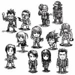 2girls 6+boys amane_misa bags_under_eyes blush chibi death_note everyone l_(death_note) looking_at_viewer lowres matsuda_touta misora_naomi mogi_kanzou monochrome multiple_boys multiple_girls nina_matsumoto raye_penber rem ryuk serious shinigami simple_background smile watari white_background yagami_light yagami_souichirou