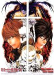 2boys artist_name bags_under_eyes cross death_note l_(death_note) multiple_boys obata_takeshi ohba_tsugumi rem ryuk shinigami skull yagami_light