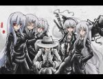 6+girls albino alternate_costume animal_ears auer book color_connection contemporary desert_eagle fedora female formal gangster gun hakurei_reimu handgun hat inubashiri_momiji izayoi_sakuya kamishirasawa_keine katana konpaku_youmu konpaku_youmu_(ghost) long_hair mafia multiple_girls odd_one_out pant_suit pistol red_eyes semiautomatic suit sword tail touhou weapon white_hair wolf_ears wolf_tail yagokoro_eirin yakuza