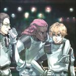 3boys arm_around_shoulder belt blonde_hair blurry brown_hair cup dark_skin dark_skinned_male daryl_dodge drinking glasses gloves graham_aker green_eyes gundam gundam_00 hairlocs hand_on_hip holding holding_cup howard_mason leaning_forward long_hair looking_at_another lowres male_focus multiple_boys profile smile uniform upper_body white_gloves