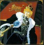 1girl banner blonde_hair border cape chair crown gem ginga_eiyuu_densetsu hat lion military military_uniform reinhard_von_lohengramm scepter solo throne uniform