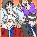 1girl 3boys akagi akagi_shigeru arsene_lupin_iii arsene_lupin_iii_(cosplay) cosplay crossover ishikawa_goemon_xiii ishikawa_goemon_xiii_(cosplay) itou_kaiji jigen_daisuke jigen_daisuke_(cosplay) kaiji lowres lupin_iii mine_fujiko mine_fujiko_(cosplay) multiple_boys oekaki parody