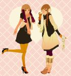 2girls bad_id black_dress black_legwear boots brown_eyes brown_hair dress earmuffs fashion full_body gloves high_heels jewelry kuko leggings long_hair multiple_girls necklace orange_legwear original pantyhose pearl_necklace polka_dot polka_dot_dress pom_pom_(clothes) purple_legwear scarf shoes short_hair vest yellow_legwear