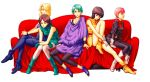 5girls aoi_subaru aqua_hair beltorchika_irma blonde_hair boots brown_hair emma_sheen fa_yuiry four_murasame gloves green_boots green_eyes green_hair gundam leggings multiple_girls pantyhose pink_hair sarah_zabiarov short_hair subaru-3 tunic zeta_gundam