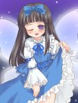 1girl ;d black_hair blue_bow blue_dress bow brown_hair collar dress eastern_and_little_nature_deity female frilled_sleeves frills hair_bow long_hair long_sleeves one_eye_closed open_mouth ry skirt_hold smile solo standing star_sapphire touhou very_long_hair violet_eyes wink