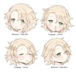 1girl blonde_hair blush bright_pupils closed_mouth copyright_request expressions green_eyes kereno looking_at_viewer medium_hair mole mole_under_eye mouth_drool multiple_views open_mouth portrait simple_background tears white_background white_pupils wide-eyed