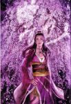 1girl breasts cherry_blossoms highres japanese_clothes kimono long_hair nouhime nouhime_(sengoku_musou) obi official_art sash scan sengoku_musou snake solo