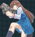 1girl blue_eyes brown_hair bullpup dress gun long_hair p90 school_uniform sentape solo submachine_gun true_tears weapon yuasa_hiromi