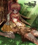 2girls against_tree bangs braid capelet copyright_name dappled_sunlight dress grass hands_together head_rest high_ponytail interlocked_fingers lap_pillow light_rays light_smile lying mabinogi mari_gwydion multiple_girls nature on_back on_ground orange_hair parted_lips pleated_skirt ponytail red_eyes shade short_dress side_braid sidelocks sitting skirt sleeping smile sunbeam sunlight swept_bangs tree triona twin_braids wariza watermark web_address