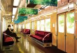 1boy 2girls artist_request ground_vehicle multiple_girls source_request train train_interior vanishing_point