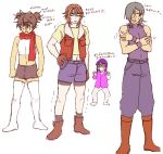 4boys allelujah_haptism bare_shoulders belt boots brown_boots buckle crossed_arms full_body gundam gundam_00 hand_on_hip knee_boots lockon_stratos looking_at_viewer male_focus multiple_boys muscle navel okayu_(pieno) open_clothes open_vest red_scarf scarf setsuna_f_seiei shorts standing stomach tank_top tieria_erde translation_request twintails uniform vest