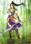 1girl armor arrow bamboo bamboo_forest black_hair bow bow_(weapon) breastplate dress forest gauntlets greaves headpiece highres inahime nature scan sengoku_musou sengoku_musou_2 solo weapon