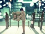 1boy 3d 3girls 4boys bangs black_hair blurry boots briefcase building city coat couple crossover cube depth_of_field faceless faceless_male from_side hand_in_pocket heart height_difference hetero hug kida_tokinori knee_boots lamppost lights loafers long_hair male_focus miniskirt multiple_boys multiple_girls nakamura_takeshi outdoors pants parody photoshop pleated_skirt portal railing road shadow shoes short_hair skirt snow solo_focus standing street tenshi_no_inai_12-gatsu valve weighted_companion_cube