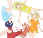 4girls bangs blush female hidamari_sketch hiro lying miyako multiple_girls sae simple_background sleeping white_background yomi_(indigoriver) yuno