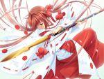 1girl brown_hair dancing japanese_clothes long_hair miko mikomai oosawa_akane polearm red_hakama solo ueda_ryou weapon