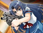 1girl asakura_ryouko blue_eyes blue_hair bullpup dutch_angle gun half_updo p90 sentape solo submachine_gun suzumiya_haruhi_no_yuuutsu weapon