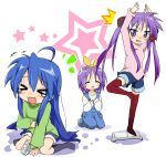 >_< 3girls :3 anger_vein black_legwear body_control closed_eyes controller feet footwear game_console game_controller hiiragi_kagami hiiragi_tsukasa humiliation ixy izumi_konata kneehighs laughing long_hair lucky_star multiple_girls overalls playing_games red_legwear short_hair socks thigh-highs video_game wii wii_fit wii_remote