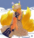 1girl bare_shoulders blonde_hair blush closed_eyes dress egawa_satsuki feet female fingernails footwear fox_tail full_body hat knee_up licking long_fingernails long_nails long_sleeves multiple_tails nail_polish pillow_hat red_nails short_hair sitting socks solo tabard tail tassel touhou white_dress white_legwear wide_sleeves yakumo_ran