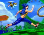 1girl action adidas cosplay costume female flying fox game_console genderswap hood jewelry jpeg_artifacts miles_prower personification ring running sega sega_mega_drive sonic sonic_the_hedgehog track_suit