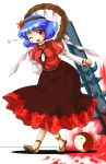 1girl blood blue_hair blush bokusatsu_tenshi_dokuro-chan club fang female hair_ornament leaf leaf_hair_ornament michii_yuuki one_eye_closed parody red_eyes rope sandals shimenawa skirt solo touhou weapon wink yasaka_kanako yin_yang