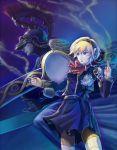 android athena athena_(megami_tensei) blonde_hair blue_eyes hi-ho- persona persona_3 ribbon short_hair smoke steam torn_clothes