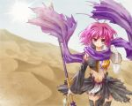 antenna_hair bandage bandages desert detached_sleeves kagetsu_too koihime_musou midriff pink_hair polearm red_eyes ryofu scarf short_hair spear tattoo thigh-highs thighhighs torn_clothes weapon