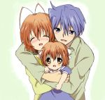 1boy 2girls bad_id blue_eyes blue_hair blush brown_eyes brown_hair clannad closed_eyes family furukawa_nagisa hug husband_and_wife maruki_(punchiki) multiple_girls okazaki_tomoya okazaki_ushio short_hair