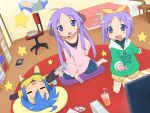 bad_id barefoot bedroom girls_playing_games hiiragi_kagami hiiragi_tsukasa hoodie izumi_konata kareha_aki lucky_star lying on_back playing_games remote sitting suzumiya_haruhi suzumiya_haruhi_no_yuuutsu video_game wii young