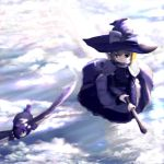 broom broom_riding chipika cloud clouds flying hat kirisame_marisa multiple_girls shameimaru_aya sky touhou wings witch_hat