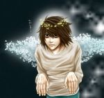 angel bags_under_eyes black_hair butterfly death_note halo l lawliet male solo translated wings