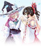 breath female hakurei_reimu kirisame_marisa perfect_cherry_blossom satori satori_(transient_wind) scarf touhou