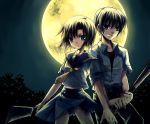 1boy 1girl baseball_bat billhook couple hatchet hetero higurashi_no_naku_koro_ni maebara_keiichi moon ryuuguu_rena suzushiro_kurumi